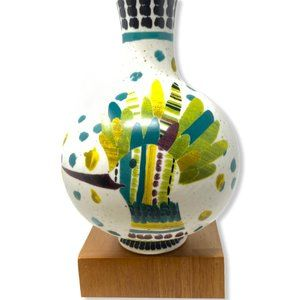 Anthropologie Ceramic Budvase with Colorful Green